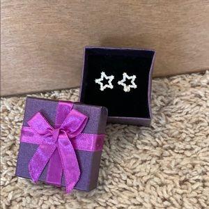 Beautiful rhinestone star stud earrings